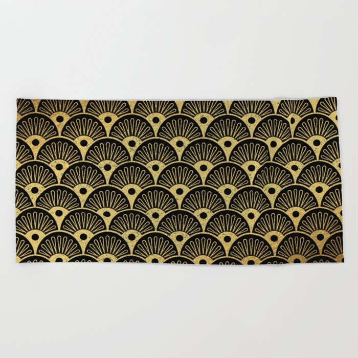 Wonderful gold glitter art deco pattern on black backround - Luxury design for your home Beach Towel