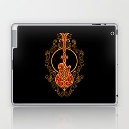 Intricate Red and Yellow Electric Guitar Design Laptop & iPad Skin