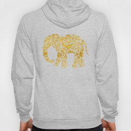 Floral Elephant in Gold Hoody