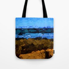 Gold Grass and Blue Sea under the Blue Sky Tote Bag