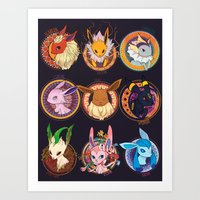 eevee Art Prints featuring Eevee by 1234