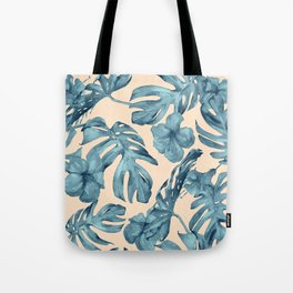 Island Vacay Hibiscus Palm Pale Coral Teal Blue Tote Bag