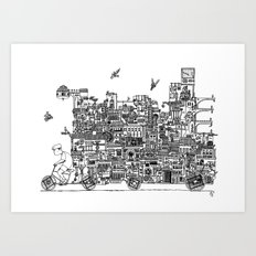 Busy City – On Your Bike Art Print