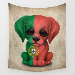 Cute Puppy Dog with flag of Portugal Wall Tapestry