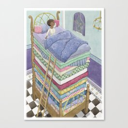 Princess and the Pea Fairytale Illustration Canvas Print