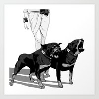 rottweiler Art Prints featuring Fashion Rottweiler  by Gregory Casares