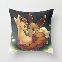 eevee Throw Pillows featuring Eevee and Vulpix by Yamilett Pimentel