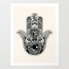 Hamsa Hand Pug Art Print
