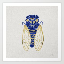 Cicada – Navy & Gold Art Print