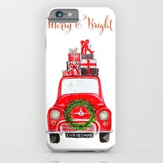 Red Christmas Car - white  iPhone 6 Slim Case
