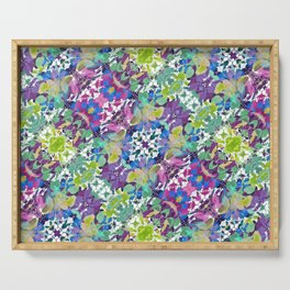 Colorful Modern Floral Print Serving Tray
