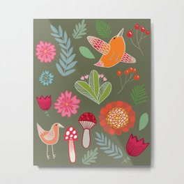 Flora & Fauna of The Great Outdoors In Green Metal Print