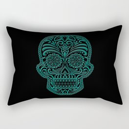 Intricate Teal Blue and Black Day of the Dead Sugar Skull Rectangular Pillow