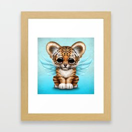 Cute Baby Tiger Cub with Fairy Wings on Blue Framed Art Print