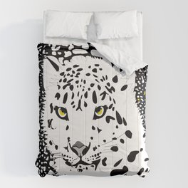 ANIMAL PRINT CHEETAH LEOPARD D  INCOGNITO BLACK AND WHITE AND YELLOW Comforters