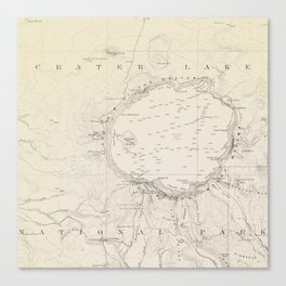 Crater Lake Vintage Map Canvas Print