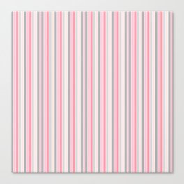 Classic Pink and Gray Stripes Canvas Print