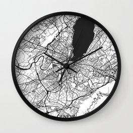 Geneva Map Gray Wall Clock