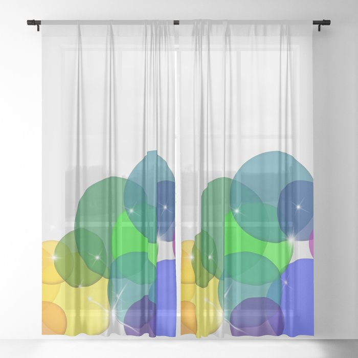 Translucent Rainbow Colored Circles with Sparkles - Multi Colored Sheer Curtain