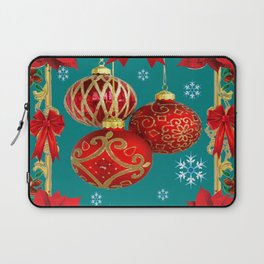TEAL COLOR RED CHRISTMAS  ORNAMENTS &  POINSETTIAS FLOWER Laptop Sleeve