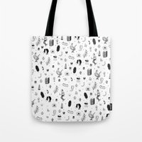 tattoos Tote Bags featuring Flash Tattoos by Hamburger Hands