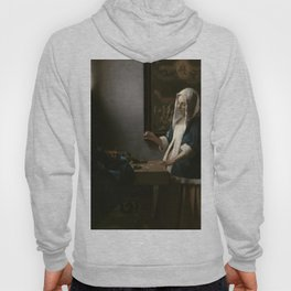Woman Holding a Balance Oil Painting by Johannes Vermeer Hoody