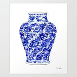Blue and White China Ginger Jar 5 Art Print