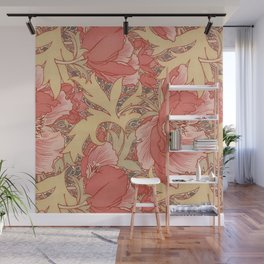 William Morris Poppies Floral Art Nouveau Pattern Wall Mural