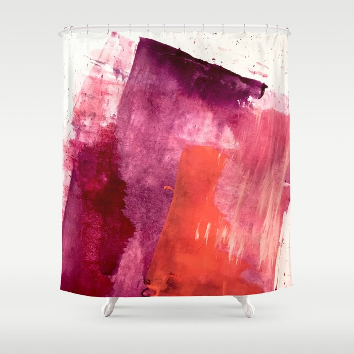 Blushing A Vibrant Minimal Abstract In Purple Pink And Red Shower Curtain