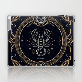 Scorpio Zodiac Golden White on Black Background Laptop & iPad Skin