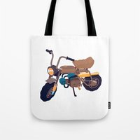 honda Tote Bags featuring #1 honda z50 by Brownjames Prints