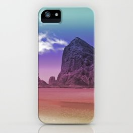Rainbow Beach Haystack Rock Cannon Beach Oregon Coast Geology Landscape Nature iPhone Case