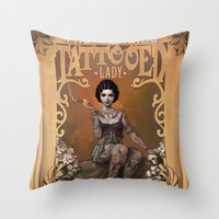 typography Throw Pillows featuring The Amazing Tattooed Lady by Rudy Faber