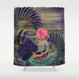 Egyptian Scarab Beetle Abstract on canvas Shower Curtain