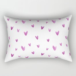 Pink hand painted watercolor romantic hearts pattern Rectangular Pillow