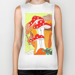 Squirrel & mushrooms Biker Tank