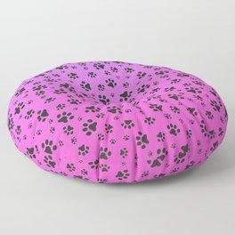 Paw Prints Pink Purple Gradient Floor Pillow