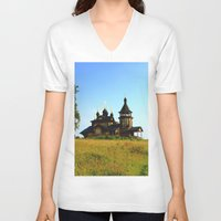 russia V-neck T-shirts featuring Wooden Church, Merkushino, Russia by Svetlana Korneliuk
