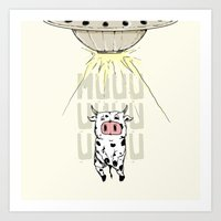 Abducted Cow Art Print
