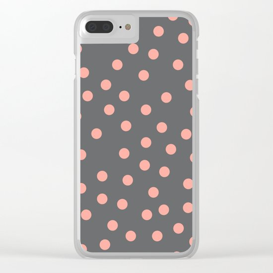 Simply Dots Salmon Pink on Storm Gray Clear iPhone Case