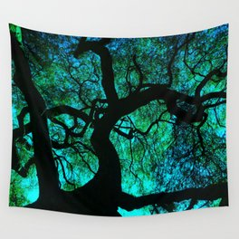 Under The Tree Blue and Green Wall Tapestry