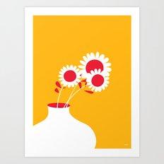 Flowers on Yellow by Friztin Art Print