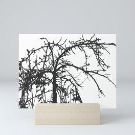 Creepy tree silhouette, black on white Mini Art Print