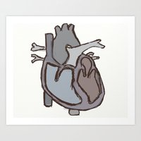 anatomical heart Art Prints featuring Anatomical Heart by Ant is in Yo Pants