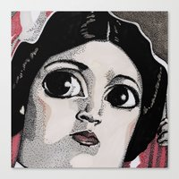 princess leia Canvas Prints featuring Leia by Drawn by Nina