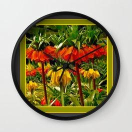 YELLOW & ORANGE CROWN IMPERIALS GARDEN Wall Clock