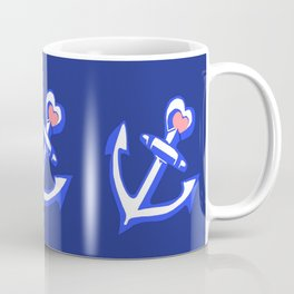 Navy Blue Heart Anchors Pattern Coffee Mug