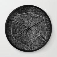 paris map Wall Clocks featuring Paris map by Le petit Archiviste