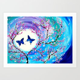 Butterflies with aqua, blue, green and purple Art Print