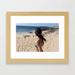 Girl, travel and relax Framed Art Print